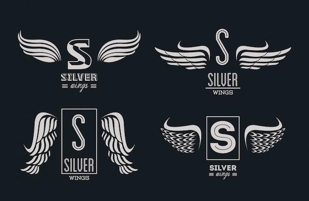 Zestaw srebrnych skrzydeł emblematów