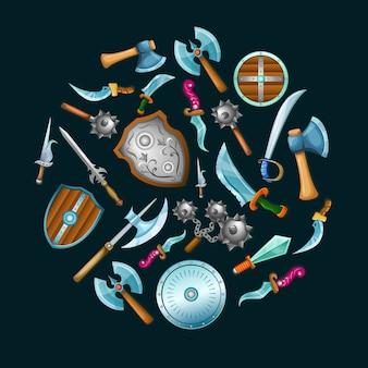 Zestaw średniowiecznej broni
