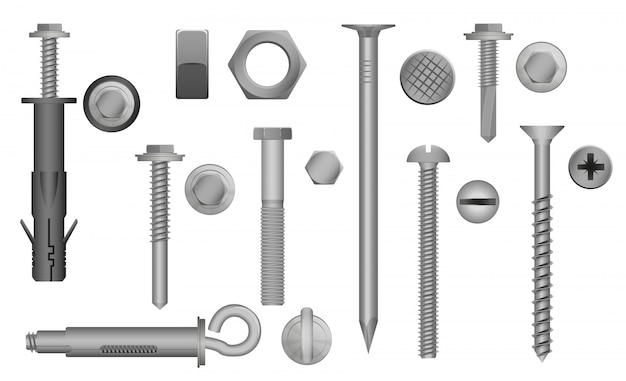 Zestaw śrub, śrub, nakrętek i nitów