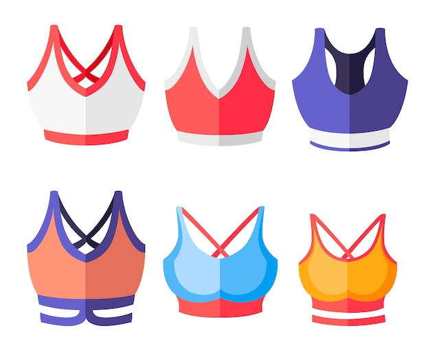 Zestaw stanik sportowy kobiet kolorowy. kolekcja odzieży sportowej dla kobiet. top treningowy. ilustracja na białym tle