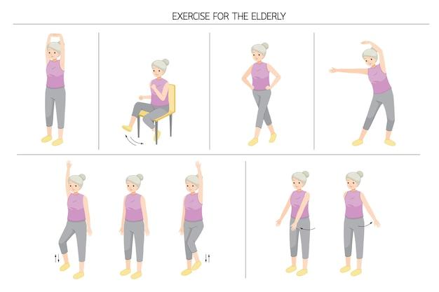 Zestaw Starej Kobiety Stojącej I Poruszającej Się Ciała Dla Dobrego Zdrowia, ćwiczenia Dla Zdrowego Serca Premium Wektorów