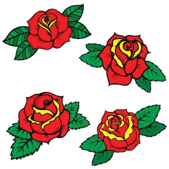 Zestaw starej szkoły tatuaż styl róże na białym tle. elementy plakatu, pocztówki, koszulki. ilustracja