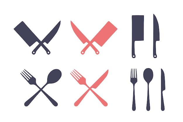 Zestaw starodawny kuchni. zestaw noża do krojenia mięsa, widelca, łyżki, oldskulowej grafiki