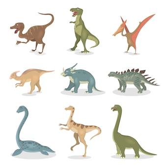Zestaw starożytnych dinozaurów. wszystkie rodzaje stworzeń z kreskówek.