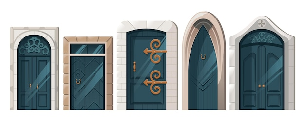 Zestaw starożytnych drzwi