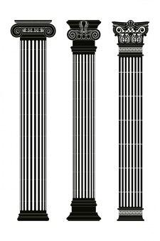 Zestaw starożytnych greckich kolumn z literami na białym tle