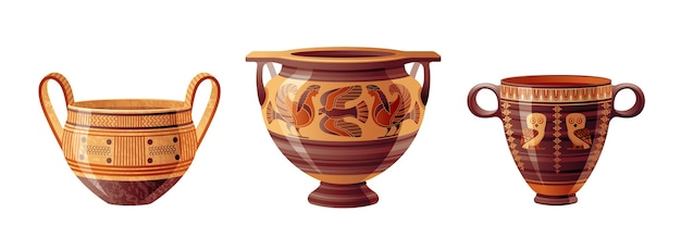 Zestaw starożytnych greckich wazonów. wektor ceramiki. antyczny dzban z grecji. stara gliniana amfora, garnek, urna, słoik