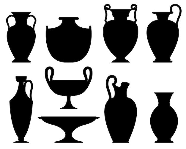 Zestaw starożytnych wazonów kolekcja sylwetki ceramiki