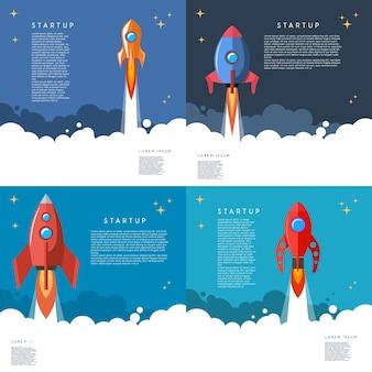 Zestaw startup. ilustracja wystrzelenia rakiety w stylu cartoon. wizerunek