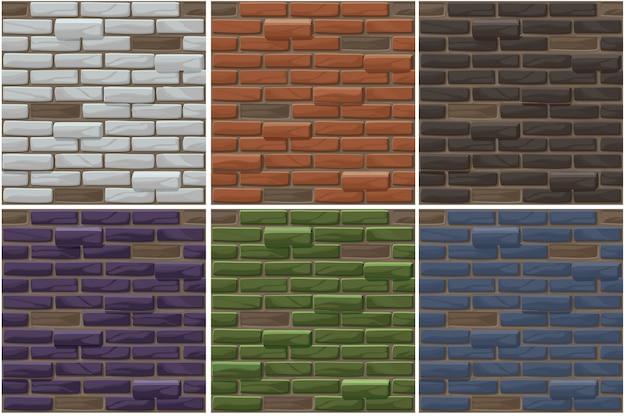Zestaw stary ceglany mur bezszwowe tło. kolekcja tekstur cegieł w różnych kolorach.