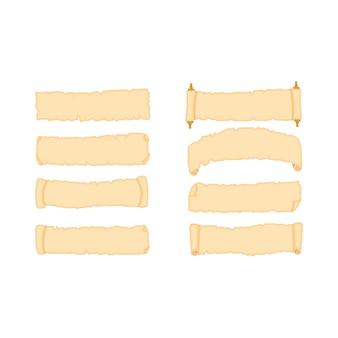 Zestaw starych arkuszy papieru pergamin o różnych kształtach ilustracja na białym tle.