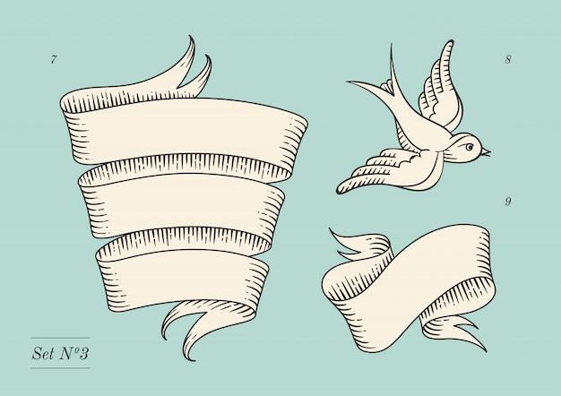 Zestaw starych banerów wstążka starodawny i rysunek w stylu grawerowania.