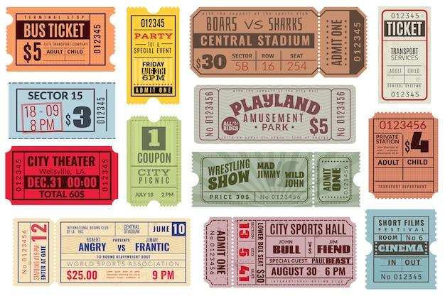 Zestaw starych biletów do kina i festiwalu