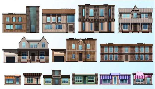 Zestaw starych budynków z cegły