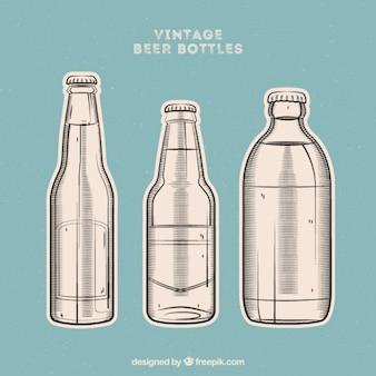 Zestaw starych butelek piwa