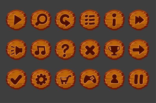 Zestaw starych drewnianych przycisków w menu gry.