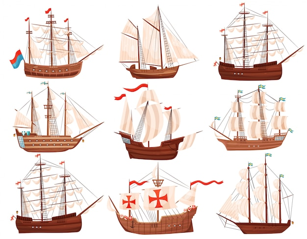 Zestaw starych drewnianych statków. duże statki morskie z żaglami i flagami. motyw morza i oceanu