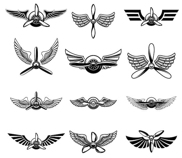 Zestaw starych emblematów pokaz samolotów.