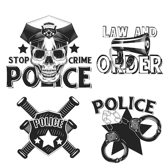 Zestaw starych emblematów policji na białym tle