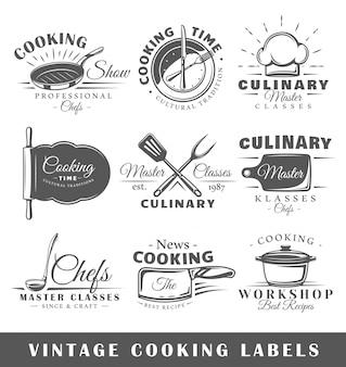 Zestaw starych etykiet gotowania
