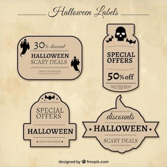 Zestaw starych etykiet halloween z rabatami