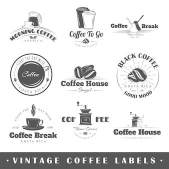 Zestaw starych etykiet kawy