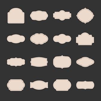 Zestaw starych etykiet. kolekcja elementów projektu papieru