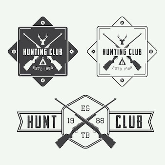 Zestaw starych etykiet myśliwskich, logo, odznaka i elementy projektu. ilustracja wektorowa