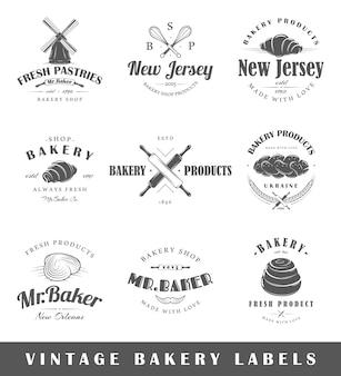 Zestaw starych etykiet piekarniczych