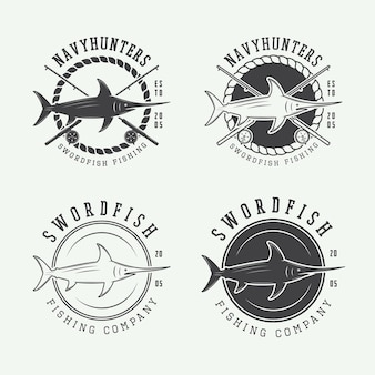 Zestaw starych etykiet wędkarskich, logo, odznaka i elementy projektu. ilustracja wektorowa