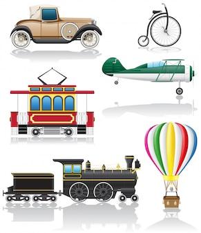 Zestaw starych ilustracji wektorowych retro transportu