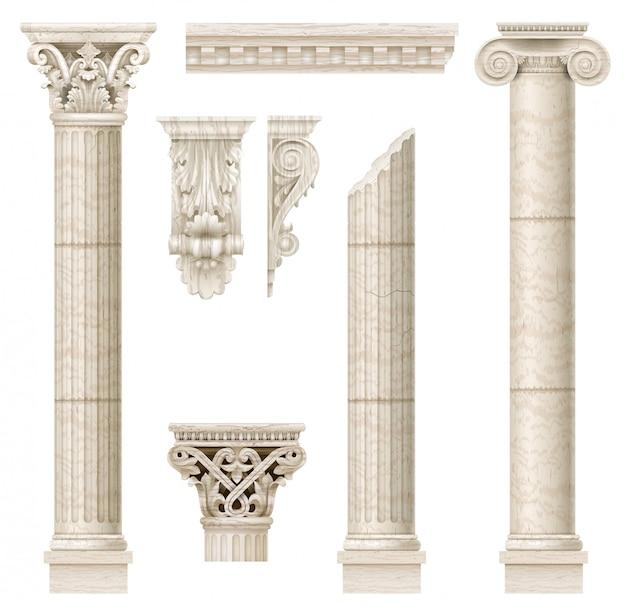 Zestaw starych klasycznych kolumn
