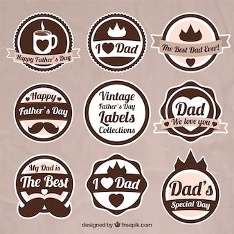 Zestaw starych kolistym płaskim dzień ojca odznaki