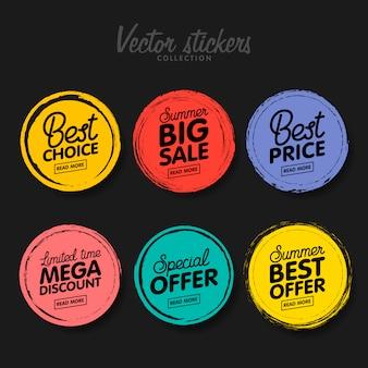 Zestaw starych kolorowych etykiet na pozdrowienia i promocje