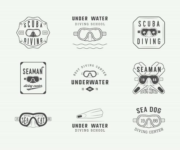 Zestaw starych logo nurkowania z akwalungiem