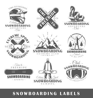 Zestaw starych logo snowboardowych