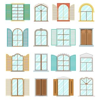 Zestaw starych okien