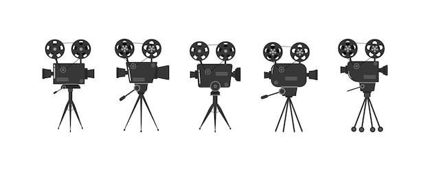 Zestaw starych projektorów kinowych na statywie
