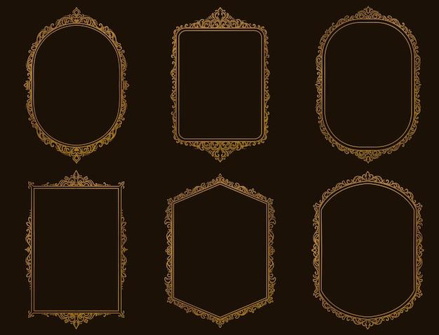 Zestaw Starych Ramek I Obramowań W Kolorze Złotym Premium Wektorów