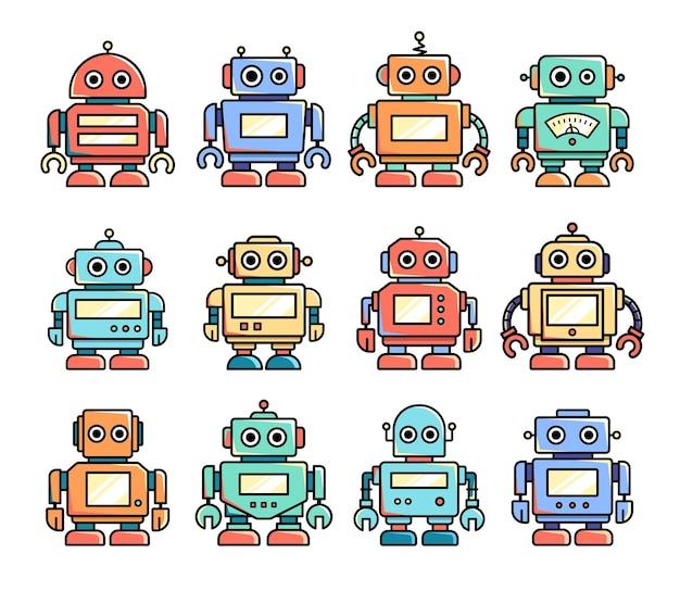 Zestaw starych robotów z kreskówek