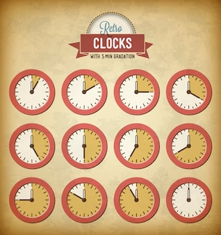 Zestaw starych zegarów