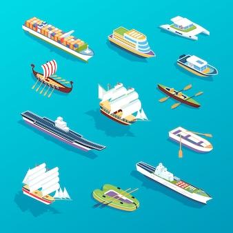Zestaw statków: morskie statki pasażerskie, łodzie towarowe, promy, statek, wycieczkowiec turystyczny, okręt wojskowy, statki towarowe
