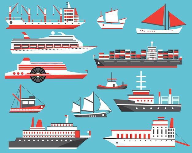 Zestaw statków. pasażerski statek wycieczkowy, jacht, masowiec i żaglówka. ilustracja wektorowa.