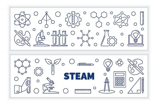 Zestaw steam koncepcja zarys poziome bannery