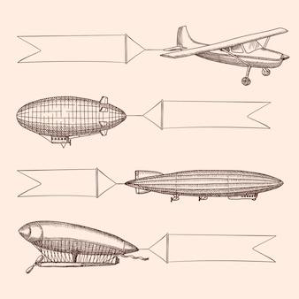 Zestaw steampunk ręcznie rysowane vintage sterowce i balony powietrza z wiszącymi szerokimi wstążkami do tekstu. transport samolotem z transparentem, sterowcem samolotu lub ilustracją sterowca