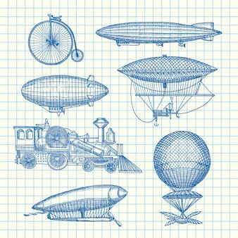 Zestaw sterowce steampunk ręcznie rysowane, rowery i samochody na ilustracji arkusza komórek. transport sterowca i rocznik balonów powietrznych