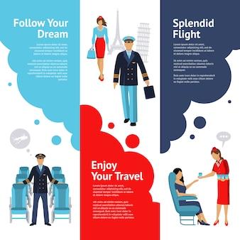 Zestaw stewardessa i zestaw sztandarów pilotowych