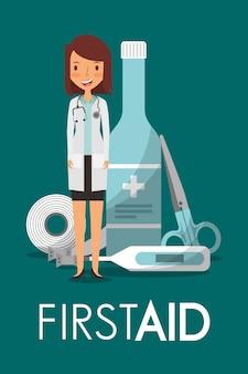 Zestaw sthetoscope kobieta lekarz