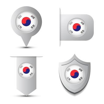 Zestaw stikers andmap wskaźnik z flagą korei południowej i cień na białym tle