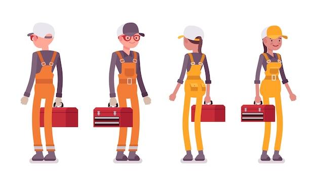 Zestaw stojących pracowników płci męskiej i żeńskiej, ubrany w jasny kombinezon